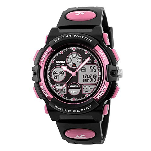 Kids Digital Sport Watch, Boys Girls Waterproof Sports Outdoor Watches Children Casual Electronic Analog Quartz Wrist Watches with Alarm Stopwatch (Pink)