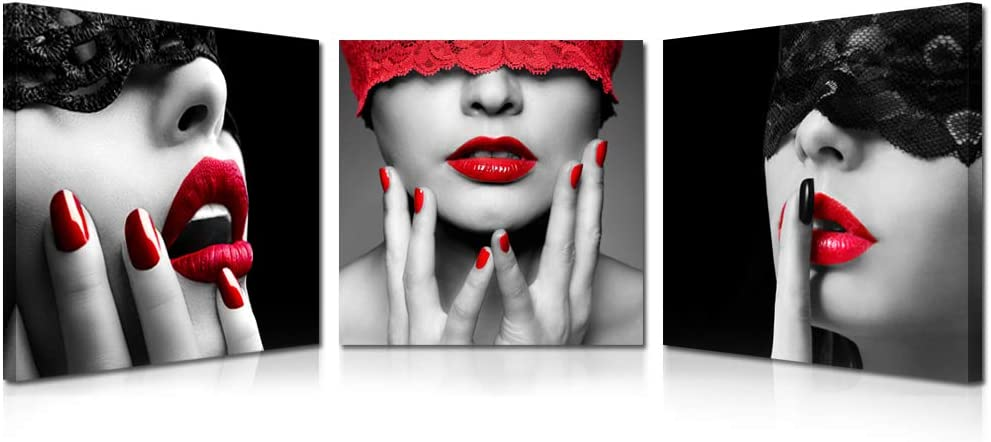 Kreative Arts 3 Piece Sexy Lips Prints Painting Morden Canvas Art Home Decoration Picture Wall Pictures for Living Room Black Red Framed Ready to Hang (16x16inchx3pcs)