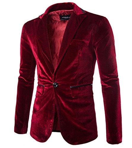 Rlouw Mens Stylish Peaked Lapel Blazer Jacket Wine Red ()