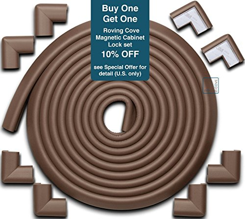 Roving Cove Edge Guards & Corner Guards set - Jumbo Coffee (brown) - Safe Edge & Corner Cushion - PRE-TAPED CORNERS; Childproofing; Baby Safety; Furniture Bumper; Baby Proofing; Table (Safe Table)
