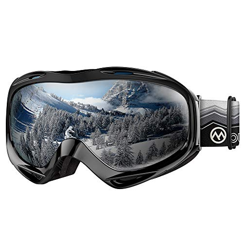 OutdoorMaster OTG Ski Goggles - Over Glasses Ski/Snowboard Goggles for Men, Women & Youth - 100% UV Protection (Wave Frame + VLT 9.9% Grey Lens)