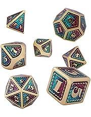 Dungeons and Dragons dobbelstenen DND-set, polyedrische metalen dice, 7 stuks D&D dobbelstenen, zinklegering, rollenspel dobbelstenen set voor Dungeons en Dragons, RPG Dice Gaming, leer