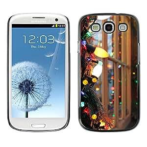 Paccase / SLIM PC / Aliminium Casa Carcasa Funda Case Cover para - Christmas Lights Colorful Bright Window - Samsung Galaxy S3 I9300