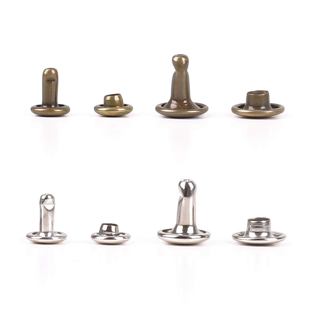 Leather Rivets 6mm 8mm Double Cap Rivet Fasteners with Leather Setting Tool for DIY Leather Craft Grommets Handbag Hardware Rivets Replacement Decorations,Leather Fasteners 120 Sets