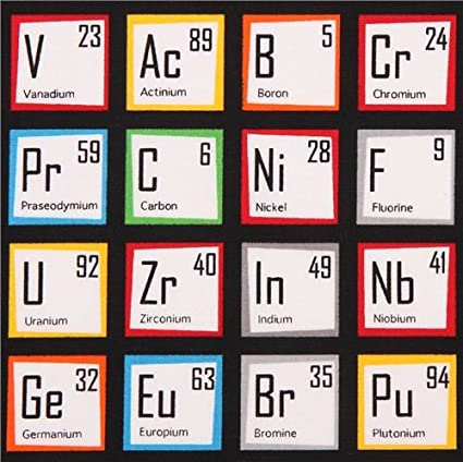 Amazon black periodic table fabric robert kaufman science black periodic table fabric robert kaufman science fair per 05 yard multiples urtaz Images