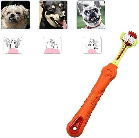 KOBWA Cepillo de Dientes para Mascotas de 3 Caras, para Eliminar ...