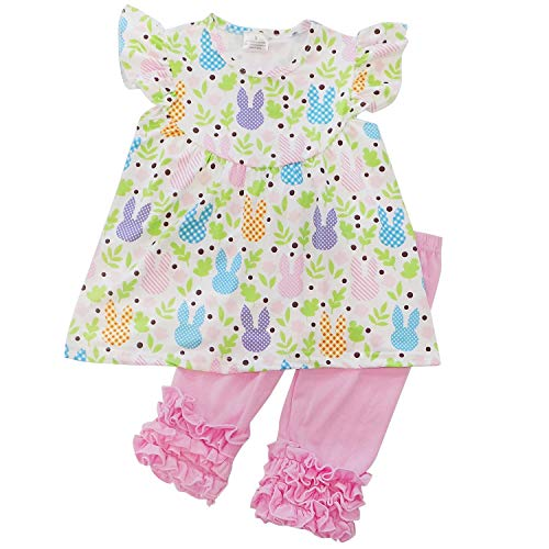 - So Sydney Girls & Toddler Easter Tunic Tank Top Ruffle Pants Boutique Outfit (4T (M), Bunny Garden Capri Set)