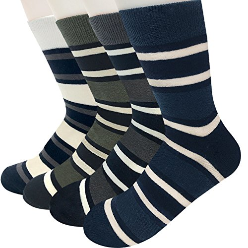Men's Dress Casual Crew Socks - Colorful Striped Patterned Design with Cotton Blended. Size 7 to 11 . 4 Pairs In 1 Pack. - Shop Berlin In