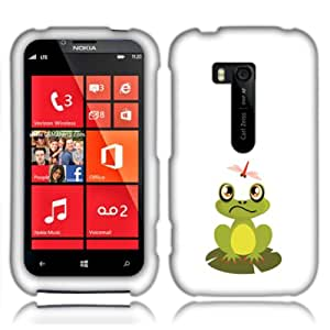 Fincibo (TM) Nokia Lumia 822 Atlas Protector Cover Case Snap On Hard Plastic - Frog And Dragonfly, Front And Back
