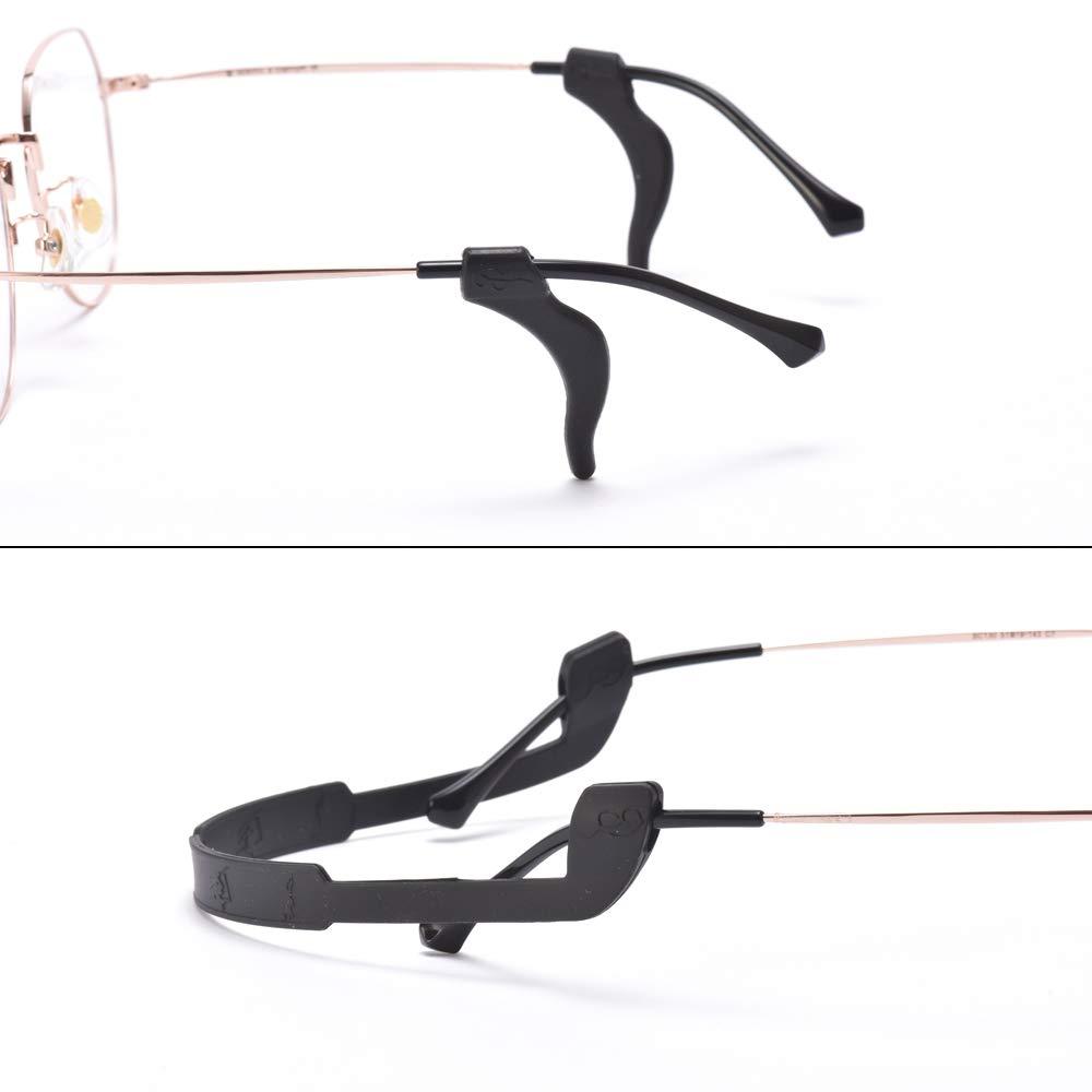 Langford 2 Pack Anti-Slip Eyeglasses Strap For Sports with 2 Pairs Ear Grip Hooks, Unisex Elastic Glasses Holder Black