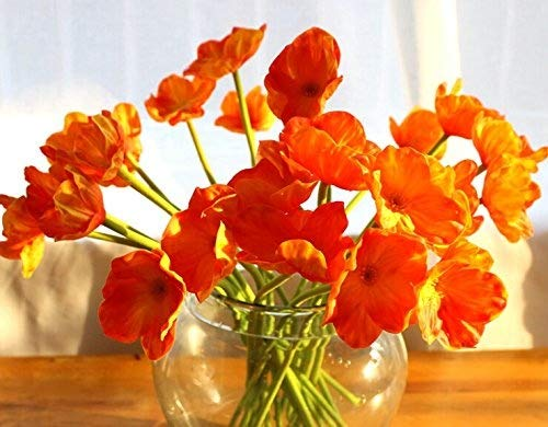 10 Pcs high quaulity Fresh Artificial Mini Real Touch PU/ latex Corn Poppies Decorative Silk fake artificial poppy flowers for Wedding holiday Bridal Bouquet Home Party Decor bridesmaid bouquets (oran