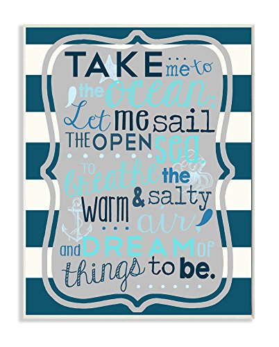 1750 Framed Canvas - Stupell Home Décor Boy's Take Me To The Ocean Wall Plaque Art, 10 x 0.5 x 15, Proudly Made in USA