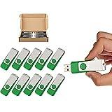 TOPSELL 10 Pack 16GB USB 2.0 Flash Drive Memory Stick Fold Storage Thumb Stick Pen Swivel Design (16G, 10PCS, Green)