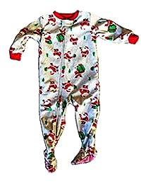 Carter's Toddler Gray Christmas Santa Claus Footed Blanket Sleeper Pajamas