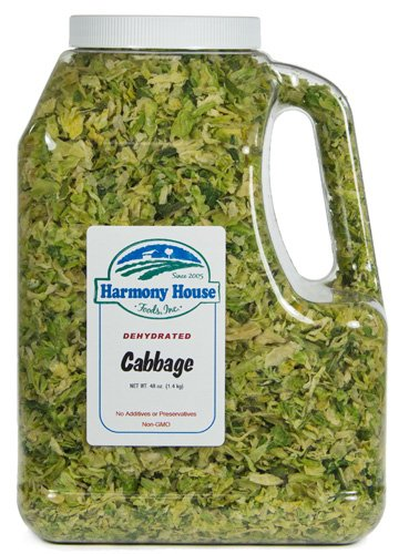 Harmony House Foods, Dried Cabbage, Flakes, 48 Ounce Gallon Size Jug