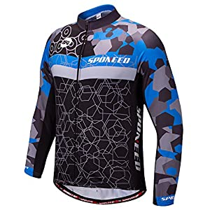 Winter Cycling Gear Men's Bike Jersey Long Sleeve Compression Pants Cycle Clothing Quick Dry US L Multi Blue