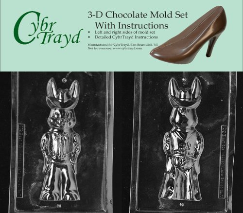 Cybrtrayd E311AB Chocolate Candy Mold, Includes 3D Chocolate Molds Instructions and 2-Mold Kit, Cowboy Bunny