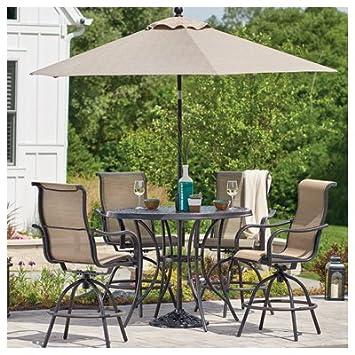 ce8179e4f5 Amazon.com: Patio Master S5-BMX00515 Vienna 5-Pc. Aluminum High-Dining Set,  4 Sling Stools + Table - Quantity 1: Garden & Outdoor