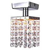 LightInTheBox Mini Semi Flush Mount in Crystal (Chrome Finish), Modern Home Ceiling Light Fixture Flush Mount, Pendant Light Chandelie