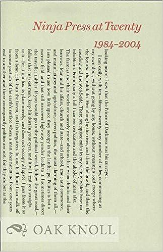 NINJA PRESS AT TWENTY: 1984-2004: none stated: Amazon.com: Books