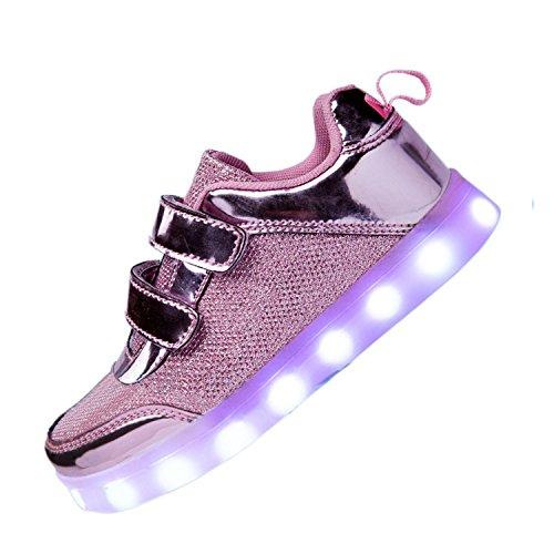 DoGeek Zapatos LED Niños Niñas Negras Blanco 7 Color USB Carga LED Zapatillas Luces Luminosos Zapatillas LED Deportivos Para Hombres Mujeres (Elegir 41 Tamaño Más Grande) rosa2
