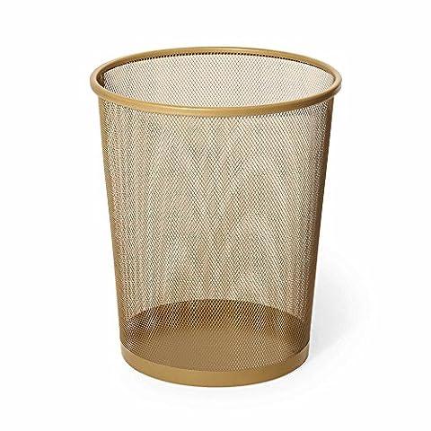 Mesh Metal Wastebasket in Aqua (1, Gold) (White And Gold Supplies)