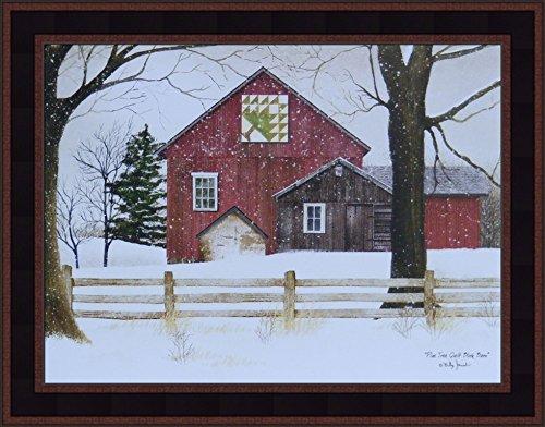 k Barn by Billy Jacobs 15x19 Red Barn Snow Snowing Winter Landscape Primitive Folk Art Print Framed Picture ()