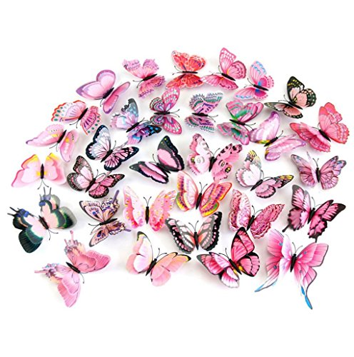 12Pcs 3D Butterfly Magnet Wall Stickers Vovotrade® Thanksgiving Christmas (Pink) by Vovotrade (Image #1)