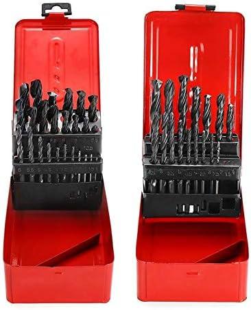 Metal Tool Accessories Triangle Alloy Twist Drill Set with Meatl Storage Box 1-13mm 19/25pcs High Speed Steel wist Drill Bit (Size : 19pcs)