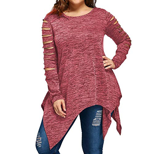 YOcheerful Womens Long Sleeve Shirt Tee Lady Plus Size Solid Top Blouse Sexy Black Jumper Tunic Winter Undershirt (Red,US-4XL/label-5XL)
