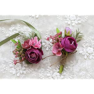 MOJUN Tea-Rose Prom Corsage Boutonniere Set Wedding Flower for Prom Party Wedding 86