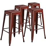 "Cheap Flash Furniture 4 Pk. 30"" High Backless Distressed Kelly Red Metal Indoor-Outdoor Barstool"