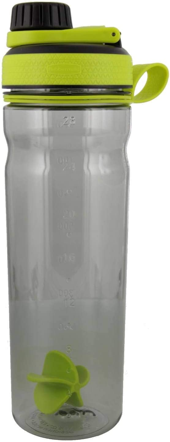Rubbermaid Shaker Cup for Protein Shakes - 28-Ounce Protein Shaker Bottle for Mixing Whey Protein Powder, Juice, and Smoothies - BPA-Free, Comes with Finger Loop and Paddle Ball - Green,Black