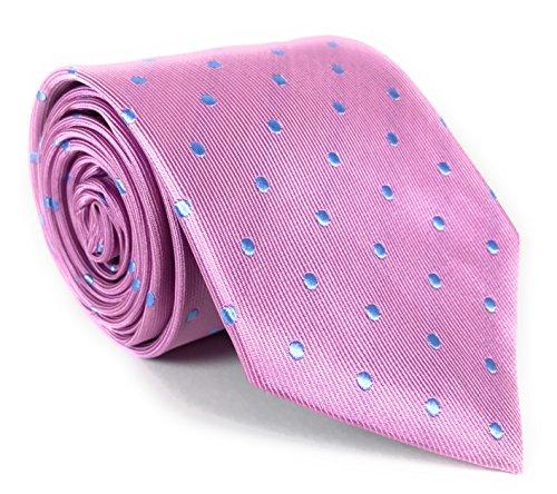 Pink Silk Necktie with Light Blue Polka Dots (Necktie Silk Pink)