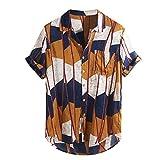 haoricu Mens Shirts Multi Color Lump Chest Tee Short Sleeve Round Irregular Hem Loose Shirt with Pocket Yellow