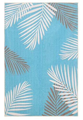 Homenovo Tropical Palms Blue/Ivory/Grey Outdoor Area Rug (5' x 8') (Rugs Tropical Area 5x8)