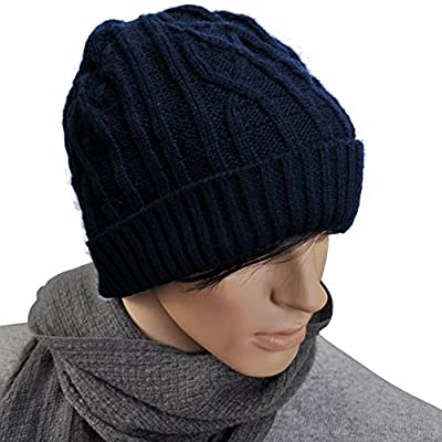 Nonwe Unisex Ribbed Knit Baggy Beanie Hat Winter Warm Ski Cap