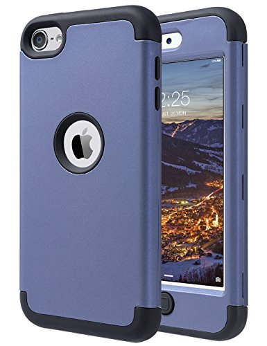 ULAK iPod Touch 7 Case, iPod Touch 6 & 5 Case, Heavy Duty High Impact Shockproof Cover Protective Case for Apple iPod Touch 5th 6th 7th Generation, (Navy Blue+Black) (Ipod Touch 5th Generation Otterbox Defender Drop Test)