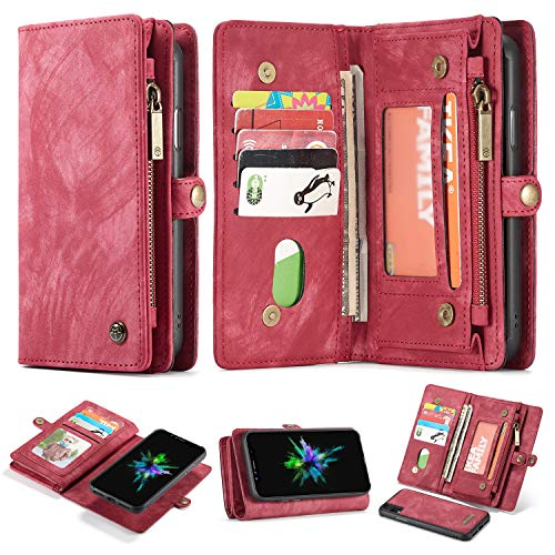 AKHVRS iPhone XR Case Wallet, Premium PU Leather Folio Flip Cover and Zip Detachable Magnetic+11Credit Card Slots+Side Cash Pocket and Money Pocket Clutch Cover for 6.1 Inch iPhone Case Red