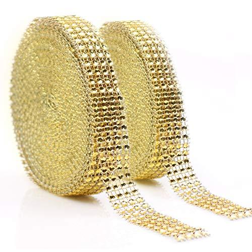 (Teemico 2 Rolls 4 Rows Acrylic Rhinestone Diamond Ribbons Sparkling Mesh Ribbon for Wedding Cake Vase Decorations Sewing Sequin Trim Rhinestone DIY Arts Craftss (Gold))
