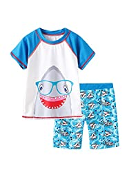 Grandwish Baby Boys' Shark Swimsuit Short Sleeve Rashguard Set 12M-5T