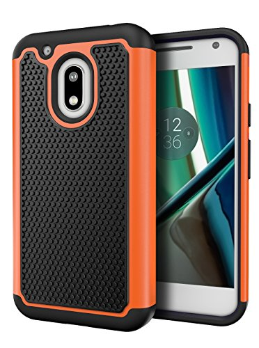 Moto G Play Case, Cimo [Shockproof] Heavy Duty Shock Absorbing Dual Layer Protection Cover for Motorola Moto G4 Play (2016) - Orange (Moto G Speaker)