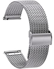TStrap Mesh Watch Strap Metal - Quick Release Watch Band for Men Women - Stainless Steel Milanses Smart Watch Bracelet - Ladies Replacement Band Black - 16mm 18mm 20mm 22mm