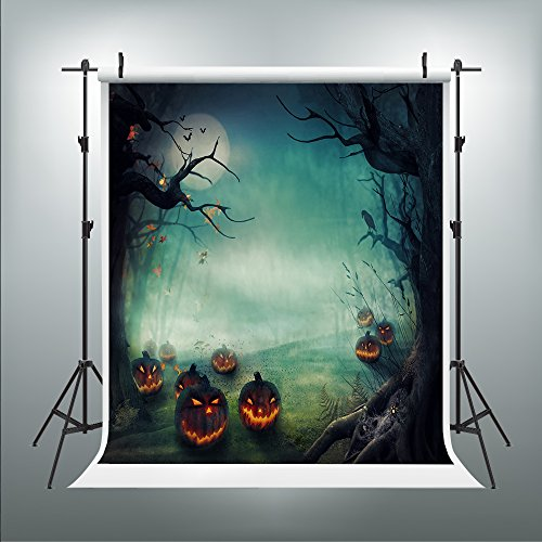 Maijoeyy 5ftx7ft Halloween Photography Backdrops Wooden Floor Pumpkin Pumpkin Lantern Photo Booth Backdrop Night Moon Props for Studio MJ-113358601CWB-D1 -