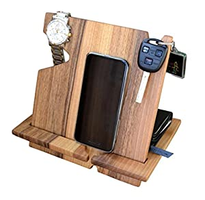 Wooden docking station with mobile phone, keys and watch