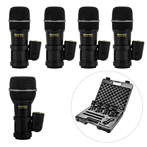 (Nady DMK-5 Five Piece Drum Microphone Kit - Includes four DM-70 tom/snare microphones, one DM-80 kick drum microphone, and a foam-lined storage case)