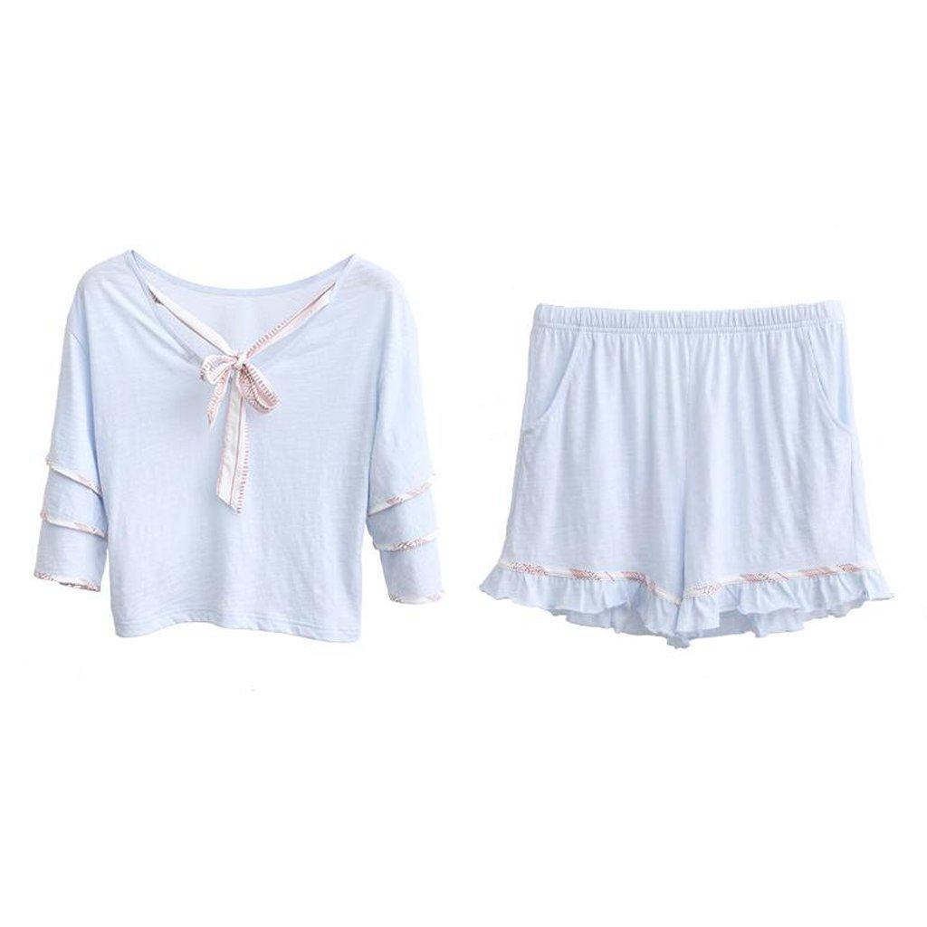 GAODUZI 夏の新甘いかわいい快適なコットンレディース半袖ショーツパジャマホームウェアアンダーウェア(パジャマ+ショーツ) Medium 青 B07DRLJN7B