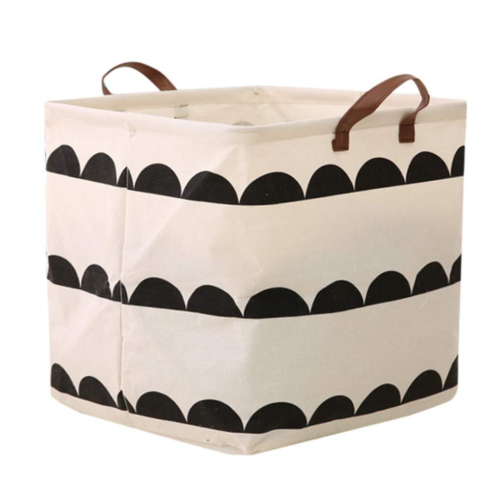 Cotton Linen Waterproof PE Coating Sundries Toy Storage Bucket Folding Box Round Laundry Storage Basket