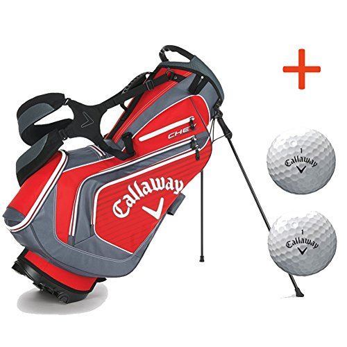 2016 Callaway Chev Stand Golf Bag, Red/Charcoal/White, with 2 Callaway Balls (Callaway Chev Stand Bag compare prices)
