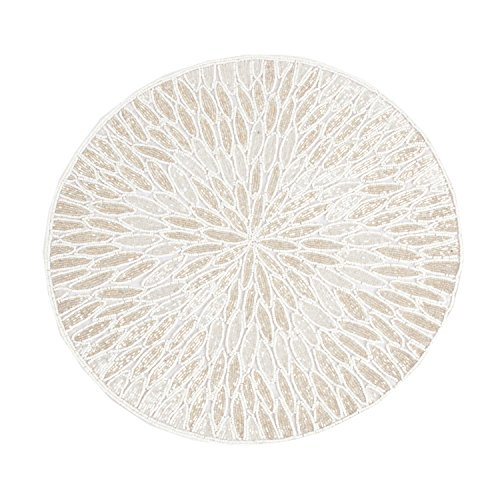 White Beaded Design Placemat 15'' Round , (4 Piece Set) by Occasion Gallery (Image #1)